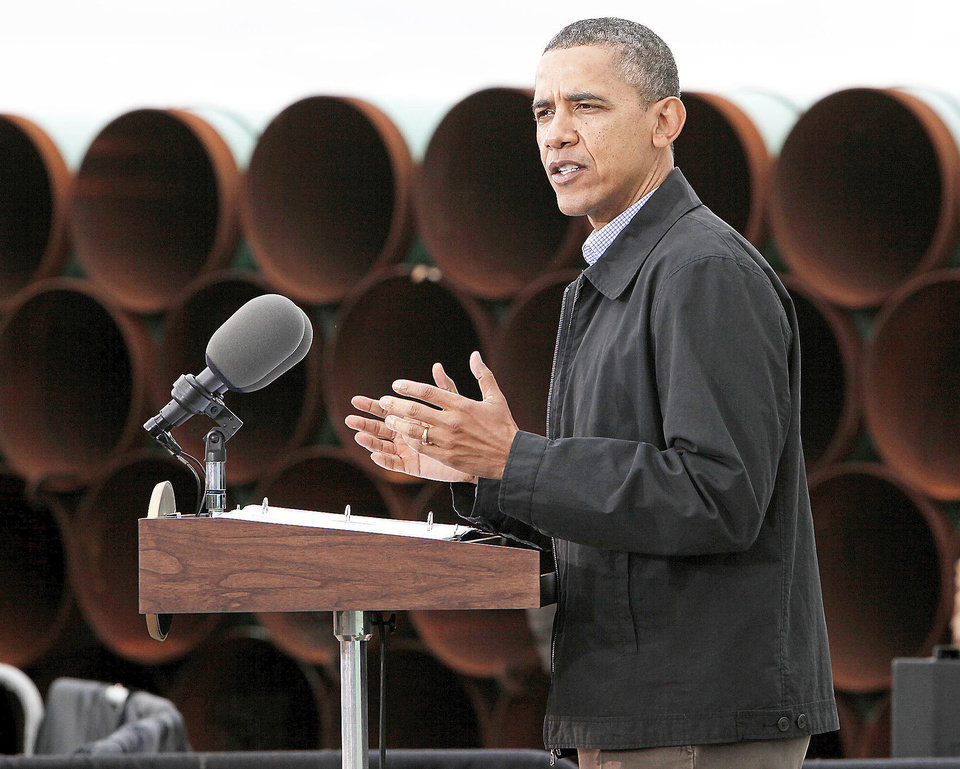 Photo - President Barack Obama speaks about energy on March 22, 2012 at the TransCanada Pipe Yard near Cushing. [Photo by Nate Billings, The Oklahoman]