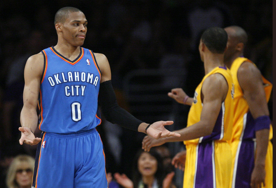 Oklahoma City\'s Russell Westbrook (0) reacts during Game 4 in the second round of the NBA basketball playoffs between the L.A. Lakers and the Oklahoma City Thunder at the Staples Center in Los Angeles, Saturday, May 19, 2012. Photo by Nate Billings, The Oklahoman