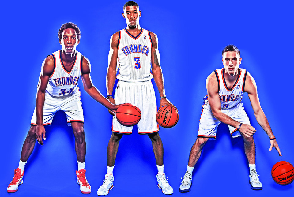 From left, Hasheem Thabeet, Perry Jones III and Andy Rautins are three of the seven new Thunder players vying for a roster spot. Photo illustration by Phillip Baeza; Photos by Chris Landsberger, The Oklahoman