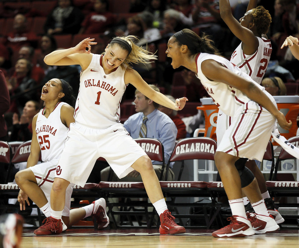 From left, Oklahoma's Gioya Carter (25), Nicole Kornet (1), Kaylon Williams (42) and Sharane Campbell (24) celebrate in the bench area after a 3-point basket by Aaryn Ellenberg (not pictured) during a women's college basketball game between the Oklahoma Sooners and Texas Tech at Lloyd Noble Center in Norman, Okla., Monday, March 3, 2014. OU won 87-32. Photo by Nate Billings, The Oklahoman