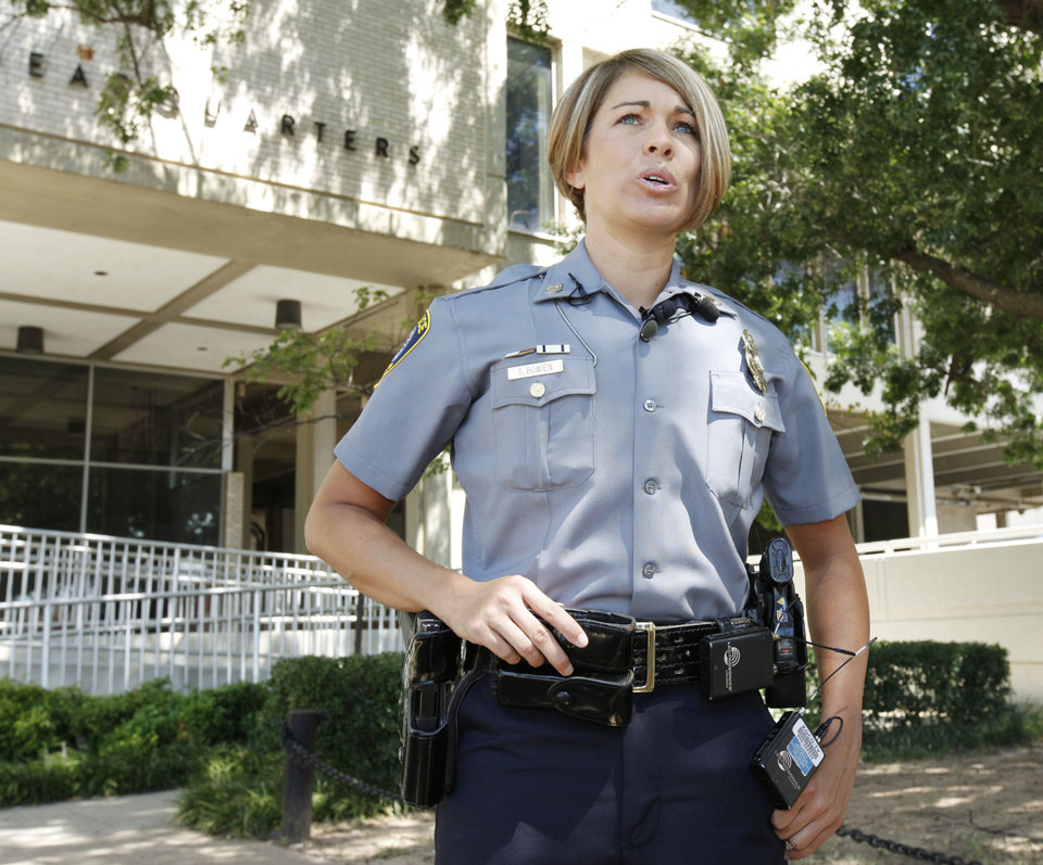 Oklahoma police Sgt. Stacy Bowien, who helped save the life of a man who was having a heart attack in the parking lot of Bass Pro Shop on Thursday, speaks to the media in front of the Oklahoma City Police Station in Oklahoma City on Monday.  Photo by Paul Hellstern, The Oklahoman <strong>PAUL HELLSTERN</strong>
