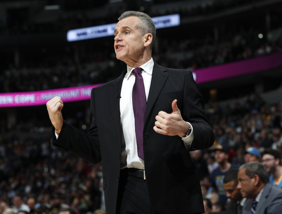 Photo - Oklahoma City Thunder coach Billy Donovan argues for a call during the second half of the team's NBA basketball game against the Denver Nuggets on Tuesday, Feb. 26, 2019, in Denver. The Nuggets won 121-112. (AP Photo/David Zalubowski)