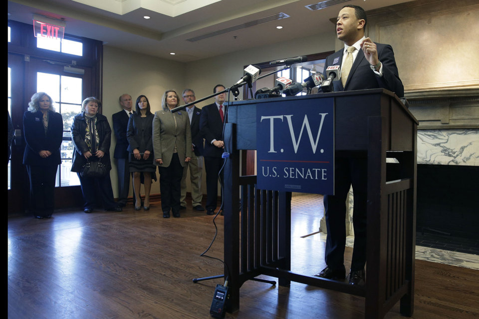 Oklahoma House Speaker T.W. Shannon announces a run for the U.S. Senate during a news conference at the Tulsa Historical Society Wednesday. Shannon, R-Lawton, is seeking the Senate seat held by U.S. Sen. Tom Coburn, who is stepping down two years early at the end of this congressional term. (AP Photo/Tulsa World, Mike Simons) <strong></strong>