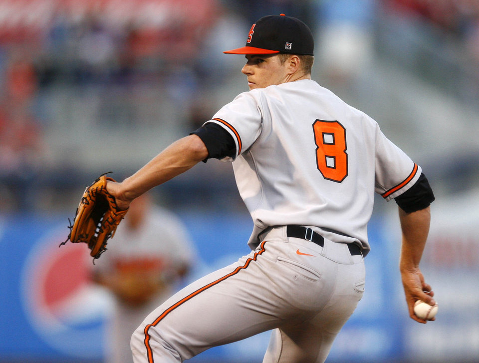 Oklahoma State\'s Jason Hursh pitches against Oklahoma during a college baseball game Friday, May 10, 2013, in Tulsa, Okla. (AP Photo/Tulsa World, Matt Barnard) ORG XMIT: OKTUL307