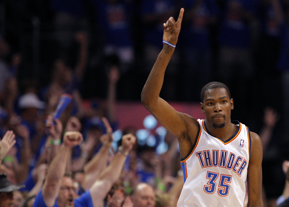 Oklahoma City's Kevin Durant (35) celebrates a three-point shot during Game 5 in the second round of the NBA playoffs between the Oklahoma City Thunder and the L.A. Lakers at Chesapeake Energy Arena in Oklahoma City, Monday, May 21, 2012. Photo by Sarah Phipps, The Oklahoman