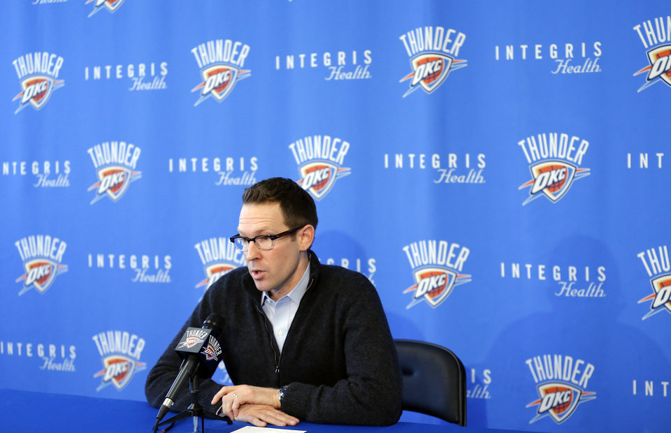 Sam Presti, Oklahoma City Thunder NBA basektball team general manager, speaks during a press conference after trades with Houston at the Integris Health Thunder Development Center in Oklahoma City, Sunday, Oct. 28, 2012. Photo by Sarah Phipps, The Oklahoman