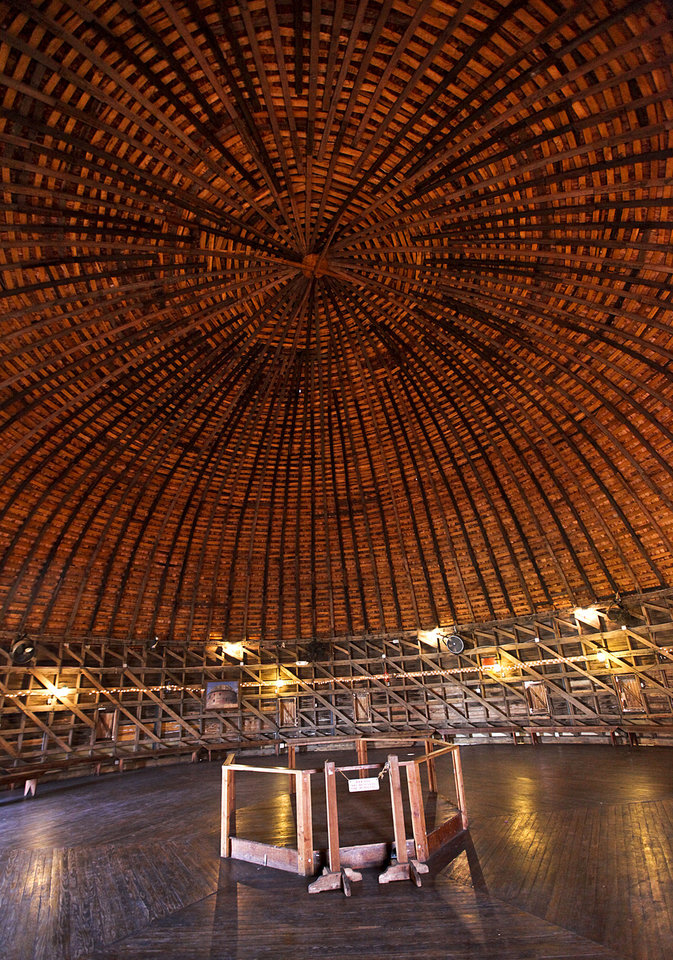 This a view of the loft at the Round Barn in Arcadia, which will celebrate the 20th anniversary of its restoration on Saturday. <strong>CHRIS LANDSBERGER - The Oklahoman</strong>