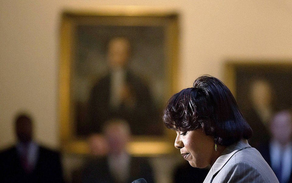 Bernice King, the daughter of Rev. Martin Luther King Jr., speaks during a service celebrating his birthday inside the Georgia State Capitol on Thursday (Jan. 17) in Atlanta. David Goldman - AP
