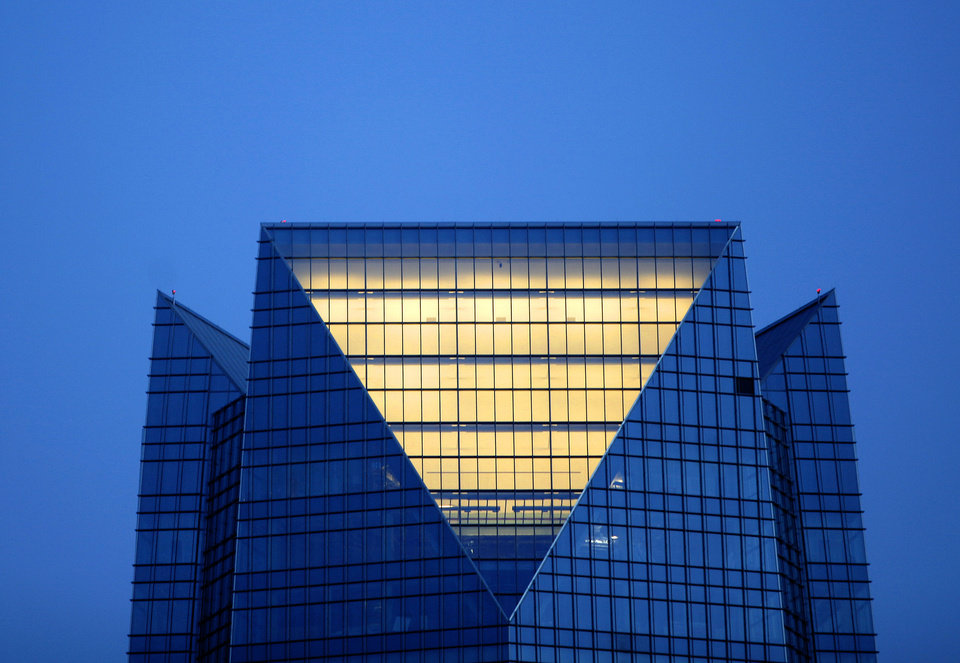 A new restaurant, Vast, is set to open this fall near the top of the Devon Tower, shown here just after sunset on July 17. PHOTO BY BRYAN TERRY, THE OKLAHOMAN. <strong>BRYAN TERRY</strong>