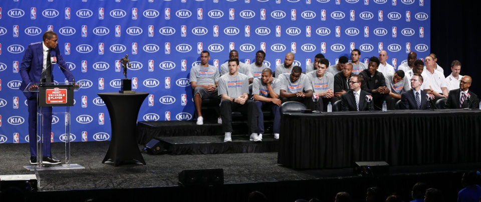 Photo - Oklahoma City's Kevin Durant addresses each member of the Thunder as he speaks during a news conference announcing Durant as the winner of the 2013-14 Kia NBA Basketball Most Value Player Award in Oklahoma City, Okla. on Tuesday, May 6, 2014. Photo by Chris Landsberger, The Oklahoman