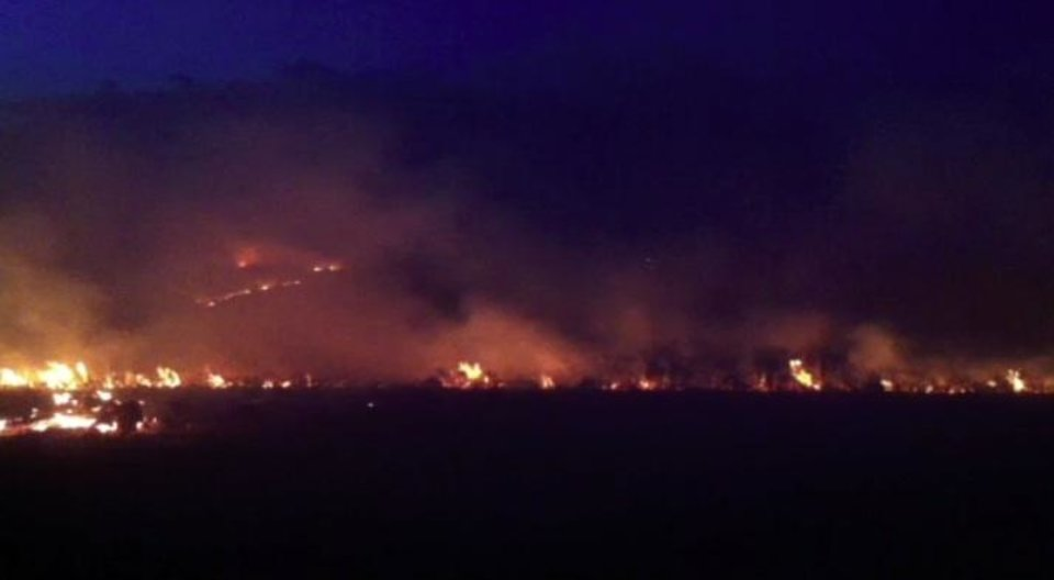Wildfire near Geary - photo sent by Ethan Pendleton