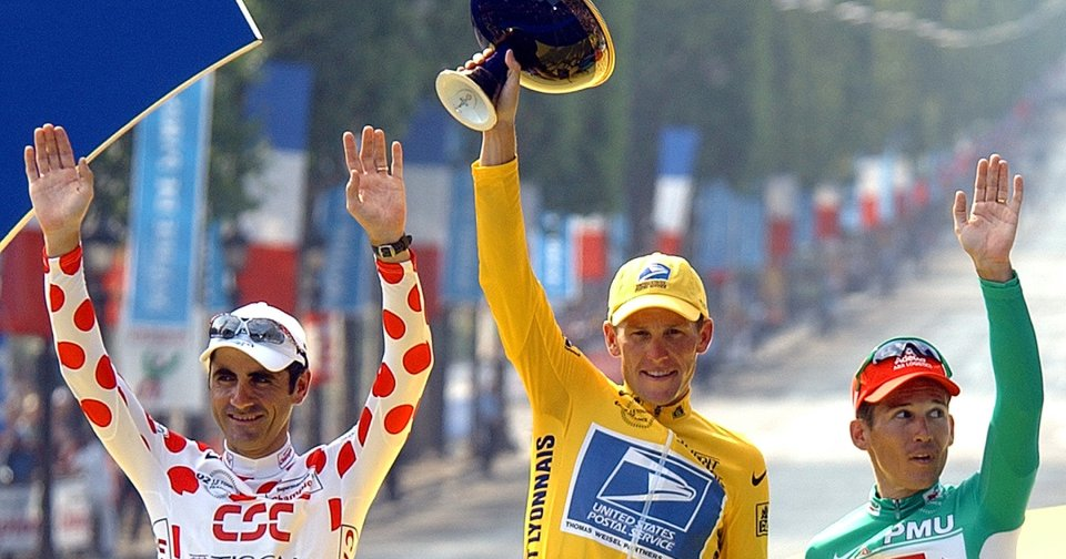 FILE - This July 28, 2002 file photo shows Lance Armstrong, center, waving from the podium as he holds the winner\'s trophy, along with best sprinter Robbie McEwen, of Australia, right, and best climber Laurent Jalabert, of France, after the 20th and final stage of the Tour de France cycling race between Melun and Paris. Armstrong was stripped of his seven Tour de France titles and banned for life by cycling\'s governing body Monday, Oct. 22, 2012, following a report from the U.S. Anti-Doping Agency that accused him of leading a massive doping program on his teams. UCI President Pat McQuaid announced that the federation accepted the USADA\'s report on Armstrong and would not appeal to the Court of Arbitration for Sport.  (AP Photo/Peter Dejong) ORG XMIT: NY153