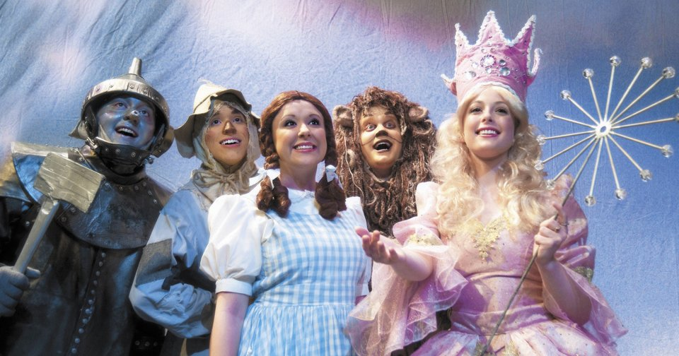 """Actors who portray the Tin Man, Scarecrow, Dorothy, the Cowardly Lion and the Good Witch practice during the dress rehearsal for the Rose State College production of """"The Wizard of Oz."""" Photo provided by Rose State College"""