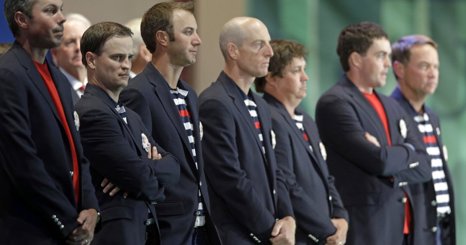 USA players arrive at the closing ceremony of the Ryder Cup PGA golf tournament Sunday, Sept. 30, 2012, at the Medinah Country Club in Medinah, Ill. (AP Photo/Chris Carlson)  ORG XMIT: PGA246