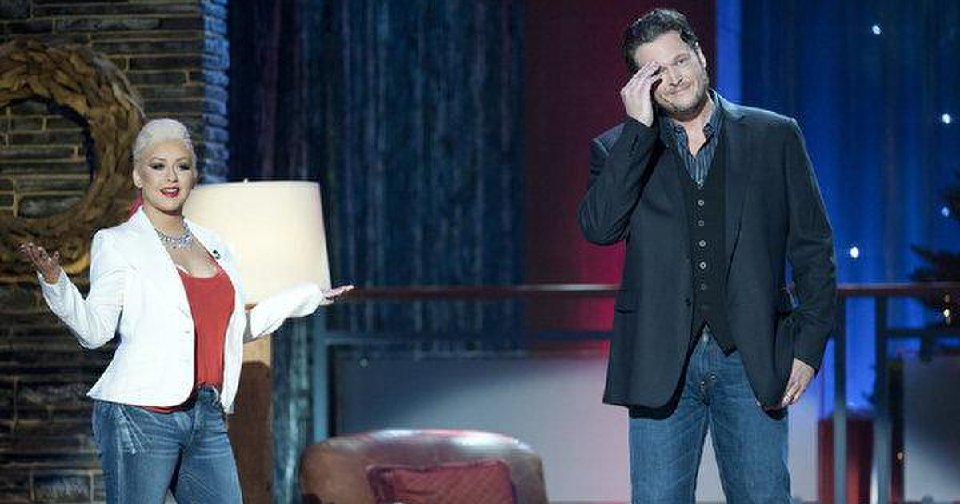"""Blake Shelton's  """"The Voice"""" co-star Christina Aguilera joins him for his Christmas special.  Photo by Lewis Jacobs/NBC"""