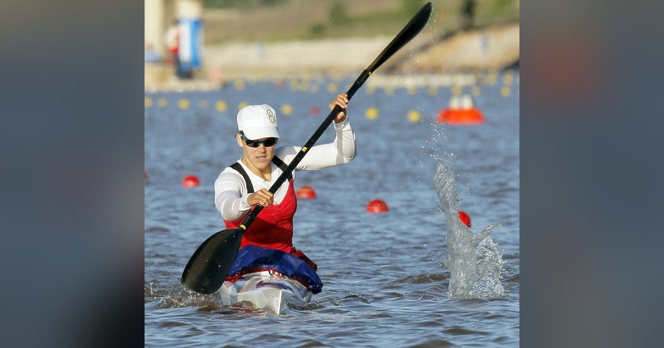 Carrie Johnson competes in the women's kayak 500-meter final during the USA Canoe/Kayak U.S. Olympic Team Trials on the Oklahoma River in Oklahoma City. Photos by Nate Billings, The Oklahoman archives