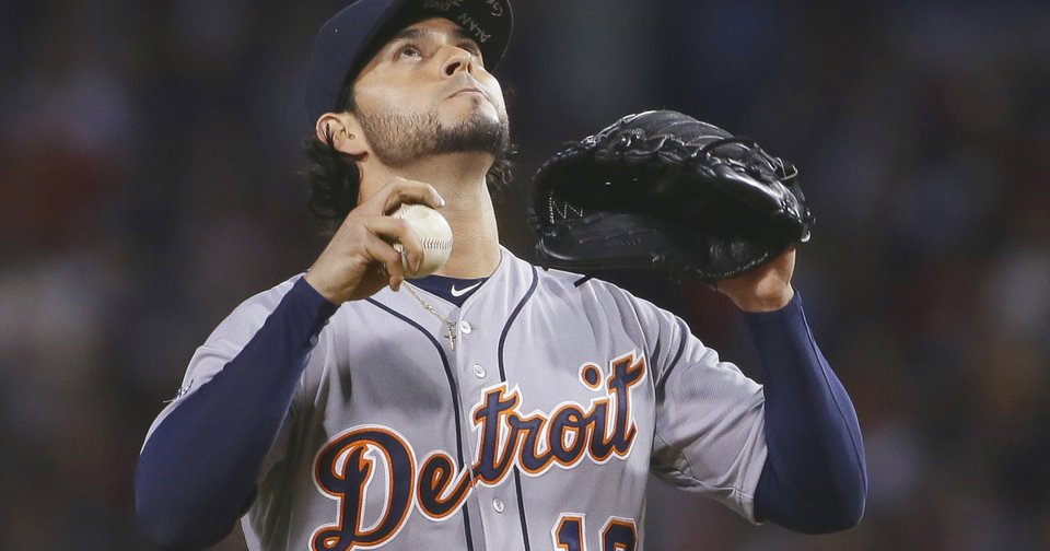 Pitcher Anibal Sanchez pauses between pitches Saturday against Boston.  AP Photo