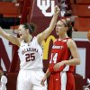 Oklahoma\'s Whitney Hand (25) celebrates in front of Marist\'s Casey Dulin (14) during the women\'s college basketball game between the University of Oklahoma and Marist at Lloyd Noble Center in Norman, Okla., Sunday,Dec. 2, 2012. Photo by Sarah Phipps, The Oklahoman
