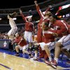 The Oklahoma bench celebrates during the Big 12 tournament women\'s college basketball game between the University of Oklahoma and West Virginia at American Airlines Arena in Dallas, Saturday, March 9, 2012. Oklahoma won 65-64. Photo by Bryan Terry, The Oklahoman