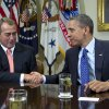 "FILE - This Nov. 16, 2012 file photo shows President Barack Obama shaking hands with House Speaker John Boehner of Ohio in the Roosevelt Room of the White House in Washington, during a meeting to discuss the deficit and economy. Congress and the White House can significantly soften the initial impact of the ""fiscal cliff"" even if they fail to reach a compromise by Dec. 31. One thing they cannot control, however, is the financial markets\' reaction, which possibly could be a panicky sell-off that triggers economic reversals worldwide. The stock market\'s unpredictability is perhaps the biggest wild card in the political showdown over the fiscal cliff. (AP Photo/Carolyn Kaster, File)"
