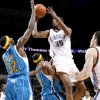 Oklahoma City\'s Kevin Durant runs into James Posey of New Orleans as Julian Wright defends during the NBA basketball game between the Oklahoma City Thunder and the New Orleans Hornets at the Ford Center in Oklahoma City on Friday, Nov. 21, 2008. Durant was called for an offensive foul on the play. BY BRYAN TERRY, THE OKLAHOMAN