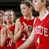 Prague\'s Ellie Schultz, left, Brooke Watkins, and Alynna Sullivan react after their 64-50 loss to Millwood in the Class 3A girls high school state basketball championship game at State Fair Arena in Oklahoma City, Saturday, March 10, 2012. Photo by Bryan Terry, The Oklahoman