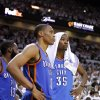 NBA BASKETBALL: Oklahoma City\'s Kevin Durant (35) and Oklahoma City\'s Russell Westbrook (0) watch the final minutes of Game 5 of the NBA Finals between the Oklahoma City Thunder and the Miami Heat at American Airlines Arena, Thursday, June 21, 2012. Oklahoma City lost 121-106. Photo by Bryan Terry, The Oklahoman