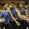 The Millwood Sapphires dance during a high school football game between Millwood and Prime Prep Academy in Oklahoma City, Friday, Sept. 14, 2012. Photo by Nate Billings, The Oklahoman