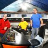 Photo - Filmmakers, from left, Scott Johnson, Jim Bray and Richard Wells, re-created the bridge of the Starship  Enterprise.Photos by Jim Beckel, The Oklahoman