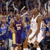 Oklahoma City\'s Kevin Durant reacts in front of L.A.\'s Kobe Bryant during the NBA basketball game between the Los Angeles Lakers and the Oklahoma City Thunder in game six of the first round series at the Ford Center in Oklahoma City, Friday, April 30, 2010. Photo by Bryan Terry, The Oklahoman