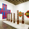 In this Sept. 24, 2013 photo, the works of artist Robert Indiana, known world over for his LOVE image, are on display at New York\'s Whitney Museum of American Art. Indiana, who turned 85 this month, called the retrospective of 95 works he created over the past five decades,