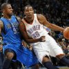 Oklahoma City\'s Kevin Durant (35) drives the ball as DeShawn Stevenson (92) of Dallas defends during the NBA basketball game between the Dallas Mavericks and the Oklahoma City Thunder at the Oklahoma City Arena in Oklahoma City, Monday, Dec. 27, 2010. Dallas won, 103-93. Photo by Nate Billings, The Oklahoman