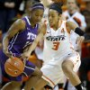 Oklahoma State\'s Tiffany Bias (3) tries to steal the ball from TCU\'s Zahna Medley (14) during a women\'s college basketball game between Oklahoma State University and TCU at Gallagher-Iba Arena in Stillwater, Okla., Tuesday, Feb. 5, 2013. Photo by Bryan Terry, The Oklahoman