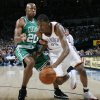 Kevin Durant of the Thunder drives past Ray Allen of Boston in the first half during the NBA basketball game between the Oklahoma City Thunder and the Boston Celtics at the Ford Center in Oklahoma City, Wednesday, Nov. 5, 2008. BY NATE BILLINGS, THE OKLAHOMAN ORG XMIT: KOD