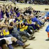Bennett Oshman, 17, dressed as Captain America, leads Okarche students and fans in a cheer during a Class A Girls semifinal game of the state high school basketball tournament between Okarche and Turner at Jim Norick Arena, The Big House, on State Fair Park in Oklahoma City, Friday, March 1, 2013. Photo by Nate Billings, The Oklahoman