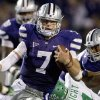 Why Kansas State will win: 3. Collin Klein has been a dual-threat QB: Klein\'s running abilities are well-documented, but he has been an efficient passer through three games this season, too. Klein has completed 72 percent of his passes with five touchdowns through the air, in addition to his 4.6 yards-per-carry rushing average. Photo: Kansas State quarterback Collin Klein gets past North Texas linebacker Will Wright during the second half of a Sept. 15 game in Manhattan, Kan. (AP Photo/Orlin Wagner)
