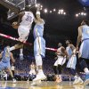 Oklahoma City\'s Kevin Durant (35) drives past Denver\'s Kenyon Martin (4) during the first round NBA playoff game between the Oklahoma City Thunder and the Denver Nuggets on Sunday, April 17, 2011, in Oklahoma City, Okla. Photo by Chris Landsberger, The Oklahoman