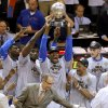Oklahoma City\'s Serge Ibaka holds the Western Conference trophy beside Nazr Mohammed, left,, Kendrick Perkins, Russell Westbrook, and Cole Aldrich after Game 6 of the Western Conference Finals between the Oklahoma City Thunder and the San Antonio Spurs in the NBA playoffs at the Chesapeake Energy Arena in Oklahoma City, Wednesday, June 6, 2012. Oklahoma City won 107-99. Photo by Bryan Terry, The Oklahoman