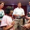 Photo - OU COLLEGE FOOTBALL: 10-year-old Tallie Anderson speaks to the press after head coach Bob Stoops' registration for tissue donation on Media Day for the University of Oklahoma football team at Gaylord Family -- Oklahoma Memorial Stadium in Norman, Oklahoma on Wednesday, August 6, 2008.  Tallie, from Shawnee, is awaiting a bone marrow donor to combat aplastic anemia.   BY STEVE SISNEY, THE OKLAHOMAN    ORG XMIT: KOD