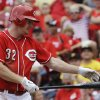 Cincinnati Reds\' Jay Bruce strikes out against Pittsburgh Pirates relief pitcher Jason Grilli in the ninth inning of a baseball game on Sunday, July 21, 2013, in Cincinnati. Pittsburgh won 3-2. (AP Photo/Al Behrman)