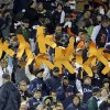 Detroit Tigers fans hold up strikeout K\'s for starting pitcher Justin Verlander during the fifth inning of Game 1 of the American League division baseball series against the Oakland Athletics, Saturday, Oct. 6, 2012, in Detroit. (AP Photo/Paul Sancya)