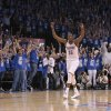 Oklahoma City\'s Kevin Durant (35) celebrates his game-winning shot during game one of the first round in the NBA playoffs between the Oklahoma City Thunder and the Dallas Mavericks at Chesapeake Energy Arena in Oklahoma City, Saturday, April 28, 2012. Photo by Sarah Phipps, The Oklahoman