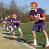 Photo - Clemson quarterback Cole Stoudt, right, leads a drill on the first day of NCAA college football spring practice for the team, Wednesday, March 5, 2014, in Clemson, S.C. (AP Photo/Anderson Independent-Mail, Mark Crammer) GREENVILLE OUT  SENECA OUT