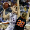 Okarche\'s Madison Lee goes past Cheyenne\'s Tana Craven during the Class A girls state championship game between Okarche and Cheyenne/Reydon in the State Fair Arena at State Fair Park in Oklahoma City, Saturday, March 2, 2013. Photo by Bryan Terry, The Oklahoman