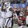 Texas A&M\'s Toney Hurd Jr. (4) reacts after a stop on Oklahoma\'s Damien Williams (26) during the college football Cotton Bowl game between the University of Oklahoma Sooners (OU) and Texas A&M University Aggies (TXAM) at Cowboy\'s Stadium on Friday Jan. 4, 2013, in Arlington, Tx. Photo by Chris Landsberger, The Oklahoman