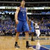 Oklahoma City\'s Nick Collison (4) walks back to the bench during game 1 of the Western Conference Finals in the NBA basketball playoffs between the Dallas Mavericks and the Oklahoma City Thunder at American Airlines Center in Dallas, Tuesday, May 17, 2011. Photo by Bryan Terry, The Oklahoman