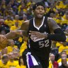 The hand of Indiana Pacers\' Paul George slips in from behind Sacramento Kings\' James Johnson, knocking the ball loose during an NBA basketball game in Indianapolis on Saturday, Nov. 3, 2012. (AP Photo/Doug McSchooler)