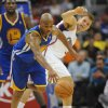 Los Angeles Clippers forward Blake Griffin, right, looks on as Golden State Warriors center guard Jarrett Jack, left, steals the ball in the first half of an NBA basketball game n Los Angeles on Saturday, Nov. 3, 2012. (AP Photo/Richard Hartog) ,