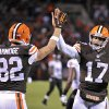 Photo - Cleveland Browns quarterback Jason Campbell (17) celebrated with tight end Gary Barnidge (82) after they hooked up on a 4-yard touchdown pass against the Baltimore Ravens in the third quarter of an NFL football game Sunday, Nov. 3, 2013. (AP Photo/David Richard)