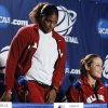 University of Oklahoma players Courtney Paris and Whitney Hand prepare to speak to the media before the Sooners elite eight appearance in NCAA women\'s basketball tournament at the Ford Center in Oklahoma City, Okla. on Monday, March 30, 2009. PHOTO BY STEVE SISNEY, THE OKLAHOMAN